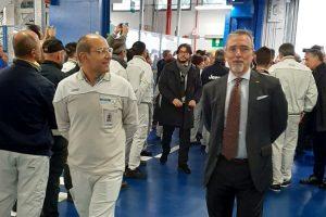 Raffaele Annale AQCF-R con il dott. Pietro Gorlier che ha accolto il Presidente del Consiglio a Melfi