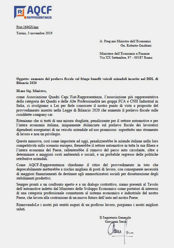 lettera_di_aqcf-r_al_ministro_economia_e_finanze_auto_aziendali